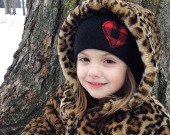 kids black beanie with plaid heart