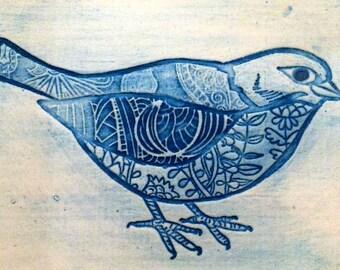 Decorated bird tile