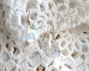 Sterling silver earrings and Swarovski crystal crescent moons.