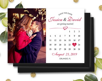 Magnet Save the Date Photo Invitations Mark Calendar Personalized Customizable Fridge Magnet Wedding Marriage Engagement w/ Envelope #MSD6