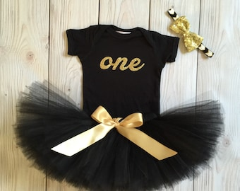 Black Gold Birthday Outfit Birthday Outfits 1st Birthday Outfit First Birthday Outfit Cake Smash Outfits Tutu Dress Birthday Tutu