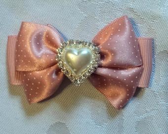 Pink Ribbon Hair Bow with Polka Dots- Heart