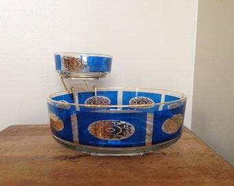 Vintage chip and dip set blue gold glass