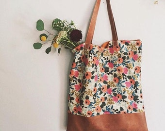 "Floral Rifle Paper Co Fabric Tote ""The Amelia"""