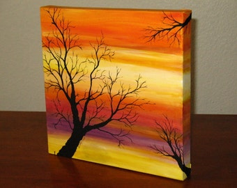 """Original Artwork """"AUTUMN""""  Acrylic painting on canvas Fall colors with tree"""
