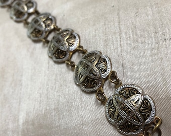 1950s Spanish Bracelet Toledo Damascene Black Silver Enamel Link 7.5 inches