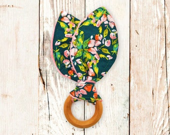 Wooden Teething Ring - SAGE FLORAL (maple teething ring, bunny ear teether, bunny ear teething ring, baby shower gift)