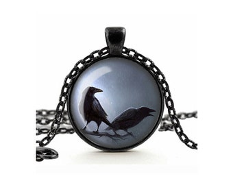 Gothic Raven Necklace, Crow Pendant, Glass Cameo Cabochon, Pair of Ravens, Tile Necklace Jewellery, Gothic Gift For Her, Alternative Jewelry