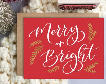 Merry & Bright A2 Greeting Card, Christmas Note Card, Red Merry and Bright Note Card,