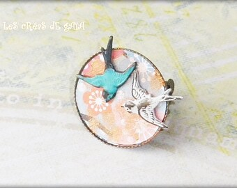 Ring • jewelry cherry blossom romantic vintage • Metal and resin • sweet and unique gift