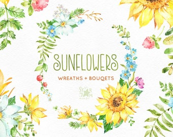 Sunflowers. Wreaths & Bouquets. Watercolor flowers clipart, floral, summer, green, yellow, sunny, leaves, frames, greeting, babyshower