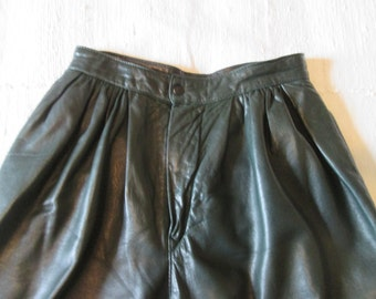 Vintage emerald green leather pants lined / Vintage doubled emerald green leather Pants
