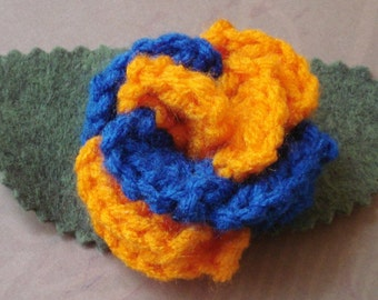 Crocheted Rose Lapel Pin - Orange and Blue (SWG-PL-PO01)