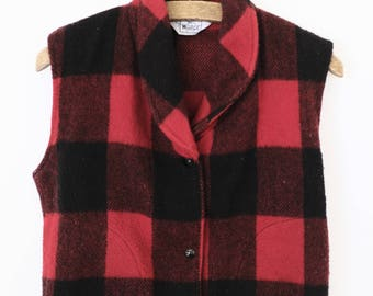 Vintage Woolrich Wool Buffalo Plaid Vest Red Black Check - Women's Small