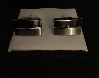 Saddlebred Rectangular  Polished/Brushed Cufflinks