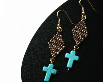 Blue Cross Earrings, Brown, Beige, And Blue Boho Dangle Earrings, Brown Beaded Earrings