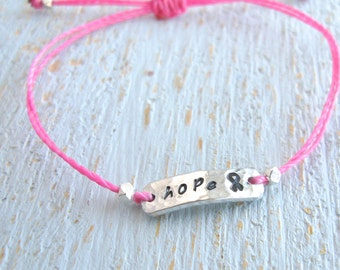 Cancer Bracelet, Breast Cancer Bracelet, Breast Cancer Awareness Bracelet, hope bracelet, Simple Cancer Hope Bracelet, adjustable