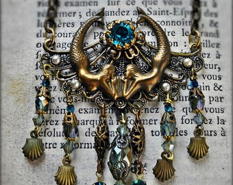 Summer Sand and Sea - The Mysterious Mermaid - Her Necklace. Multistrand beach necklace full of water colors and antique gold hues