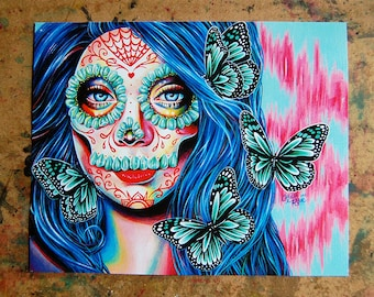 Ethereal Dream Art Print - 5x7, 8x10, or 11x14 - Day of the Dead Sugar Skull Girl Tattoo Flash Butterfly Colorful Portrait