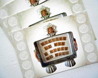 "Diet Postcards Set of 4 Dieting Cake Girl Print of Mixed Media Assemblage by RememberMeEmily 4"" x 6"""