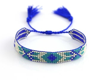 MYC Paris - Women Bracelet beads Miyuki Colorful blue or green handmade handcut