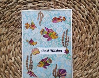 Fishes #3 Handmade Greeting Card birthday wishes animals lovers fish tank aquarium tropical fishes blue shiny