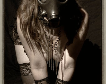 Art of Fetish female lingerie gas mask sepia fine ART photography PRINT - Wanted - 14