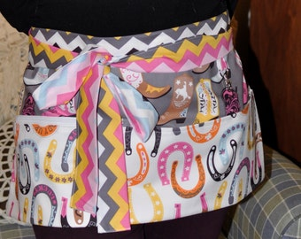 Cowgirl Cowboy Boots Country Half Vendor Apron with One Zipper Pocket, hook clip and extra long ties Pink White Gray Blue Chevron Fabric