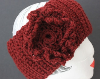 "Hand  Knitted ""Burgundy"" Head Band, Ear Warmer,  Headband"
