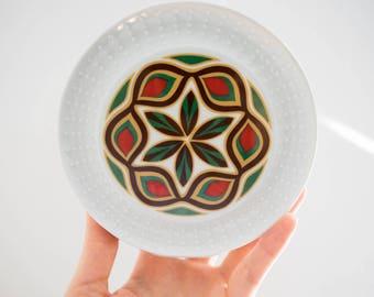 Milieu du siècle rouge, vert, or et marron glacé Vase en porcelaine / / Schumann Arzberg Bavaria / / Bohemian Home Decor