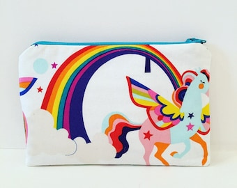 Unicorns and Rainbows Zipper Pouch/ Essential Oils Pouch/ Cosmetic Bag