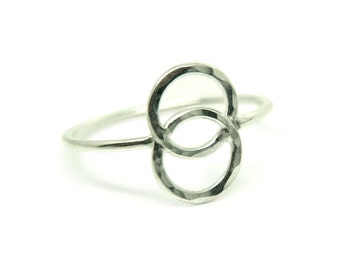 Sterling silver vesica piscis ring, sacred geometry symbol ring