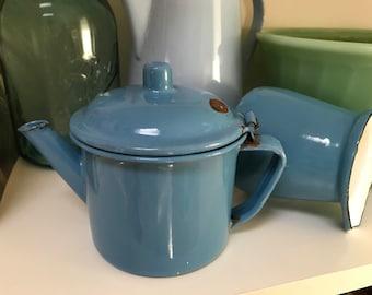 Blue Enamelware Teapot Individual Enamelware Pot Shades of Blue Enamel Country Kitchen Farmhouse Farm House