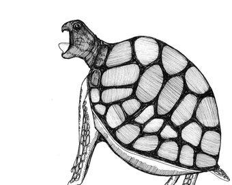 Turtle Opens Wide ORIGINAL illustration for inktober 2017 black ink on paper  6 x 6