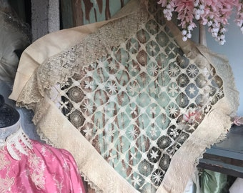 Antique Early Spanish Lace Large Pillow Cover Shabby Chic C73