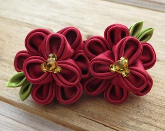 Hair Accessories-Hair Clips-Barrettes and Clips- Hair Pins-Kanzashi Flower-Tsumami Kanzashi-Girls Hair Accessories-Wedding Accessories