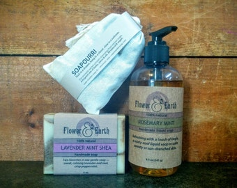 Cool / Clean: Lavender Mint Shea Bar Soap and Rosemary Mint Liquid Soap with Sachet