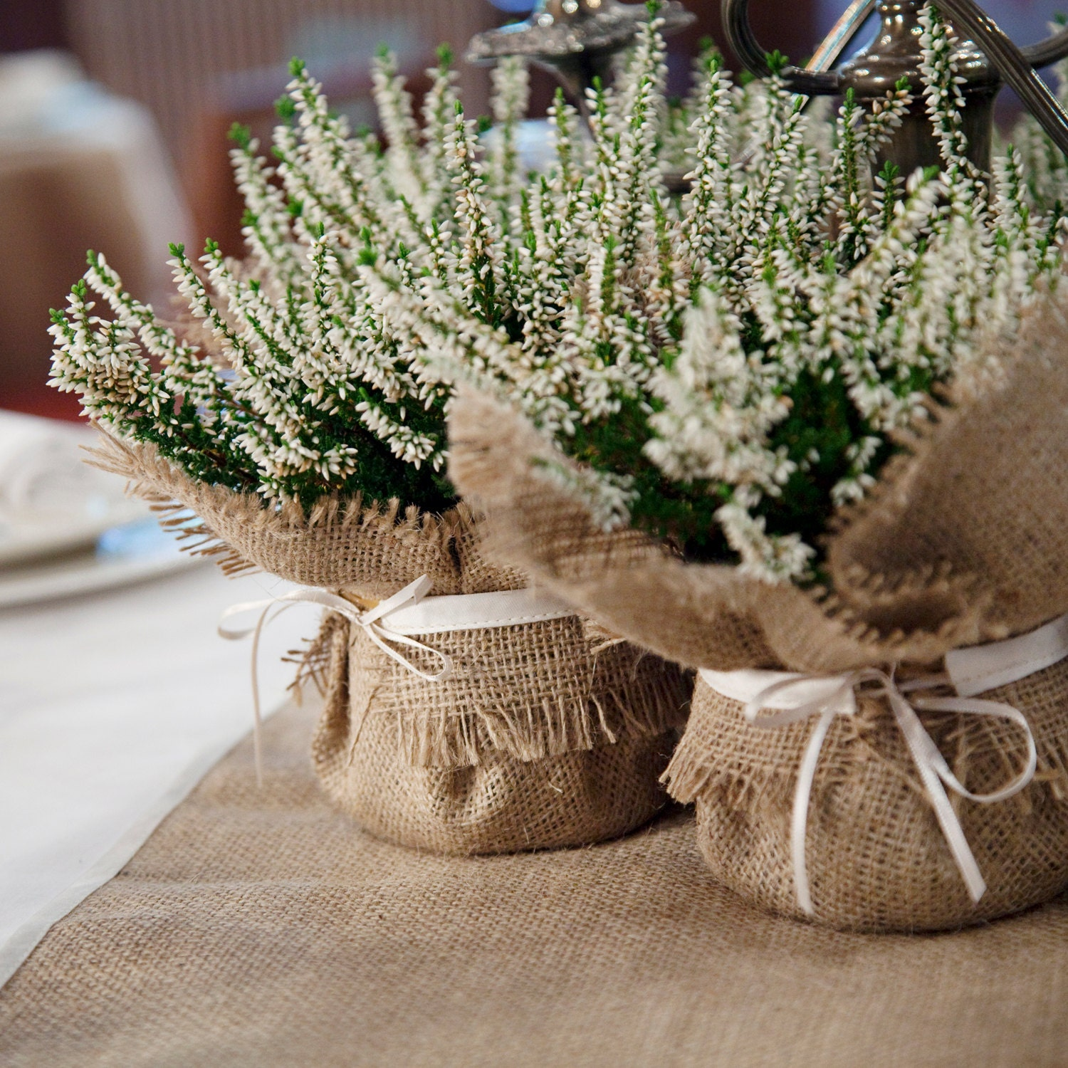 Rustic wedding decoration burlap plant wrap with satin tie zoom junglespirit Choice Image