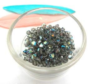 Set of 20 Black Diamond AB - 4 mm Swarovski Crystal bicones