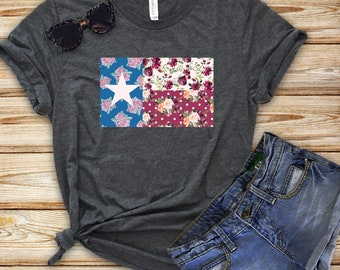 Texas Flag Vintage Floral T-Shirt