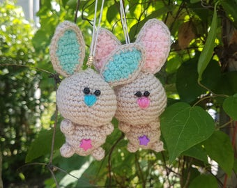 Gift for mom bag charm easter gift Easter bunny easter decorations cute bunny stuffed rabbit Happy Easter present Crochet rabbit keychain