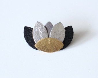 CREATING LIPIKI: Zen pin leather grey black lotus flower shape gold and silver