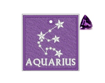 Aquarius Zodiac FSL Bookmark - Book Lovers Gift - FSL - Embroidery Design - Multiple Formats