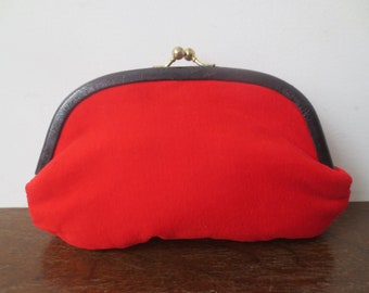 Vintage '50s/'60s Plush Velveteen Cherry Red, Leather Trimmed Kiss Lock Clutch