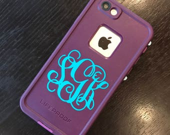 Monogram Vinyl Decal for Cell Phone / iPhone / Android / LG / Samsung + More! *FREE SHIPPING* Choose A Custom Case Size