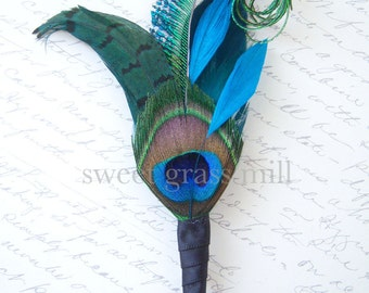 Peacock Boutonniere - MEZZANINE Boutonniere - Teal Turquoise Peacock Sword Black Satin