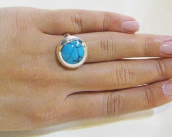 Turquoise ring, Sterling silver ring, Adjustable ring, Unique Turquoise Jewelry, Silver ring, Turquoise Jewelry, December,