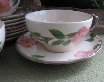 Vintage Franciscan Desert Rose Cups and Saucers England Backstamp 1976-1984 Hand Painted Dinnerware and Replacements Eight (8) Sets