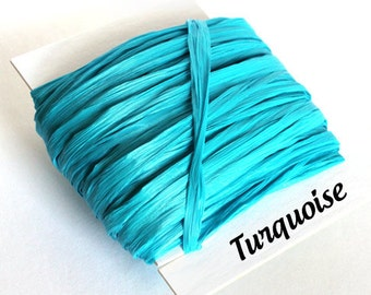 Turquoise Raffia Ribbon - 30/100 yards - 1/4 inch wide
