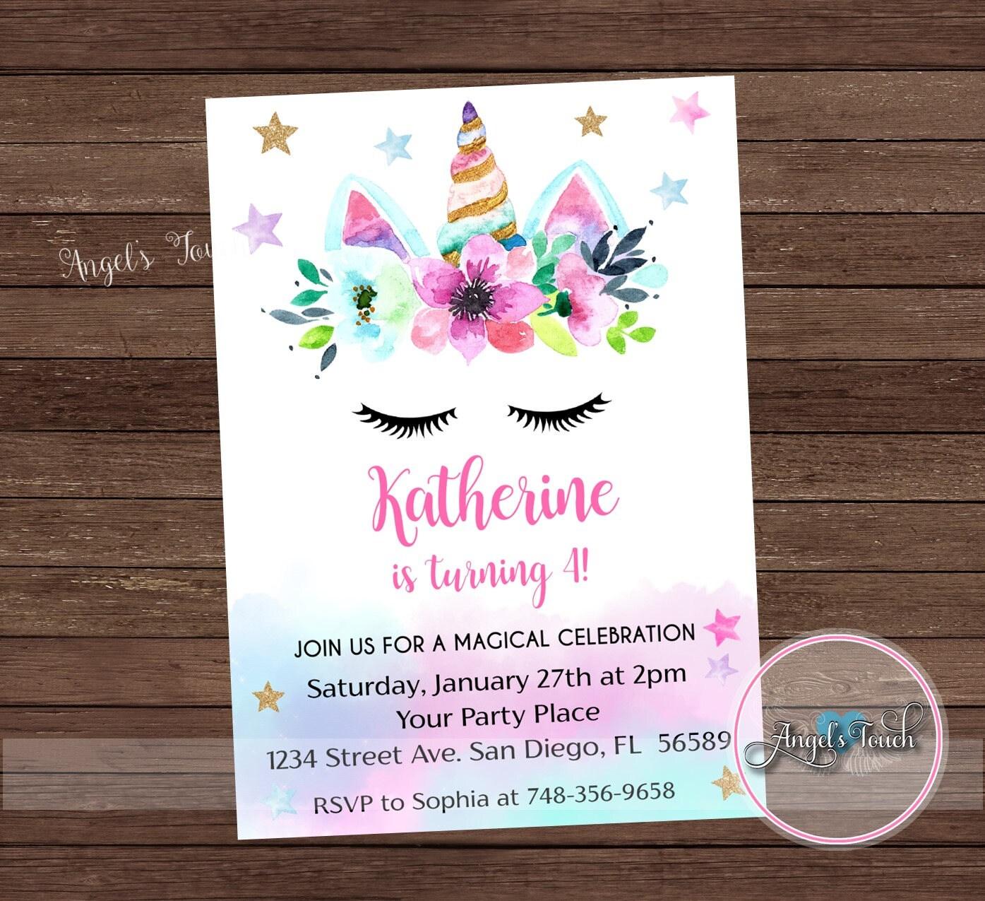 Unicorn Party Invitation, Rainbow Unicorn Birthday Party Invitation ...